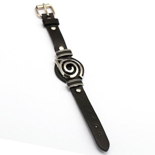 Anime Naruto Bracelet Kakashi Uzumaki Itachi Konoha Logo Black Punk Leather Bracelets Bangles for Fans Cosplay Jewelry