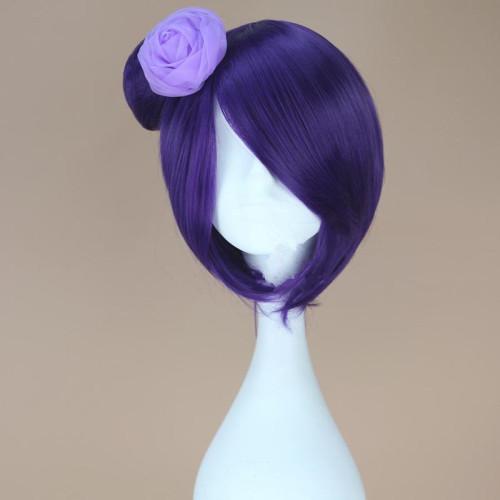 Anime NARUTO Akatsuki Konan Cosplay Wigs Women Girls Purple Fluffy Synthesis Hair Wig With Head Flower Fancy Ball Cosplay Props