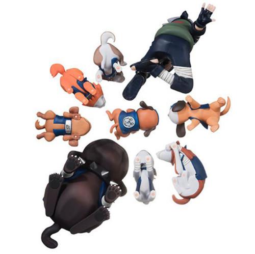 9pcs/set Naruto Shippuden Figure Hatake Kakashi Eight Ren Dogs PVC Action Figures Collectible Model Toy Gift
