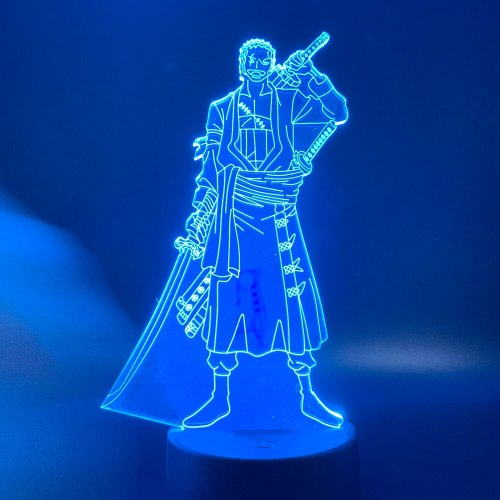 Colorful 3d Led Night Light Anime One Piece Roronoa Zoro Figure for Kids Child Birthday Gift As Study Bed Room Decorative Lamp