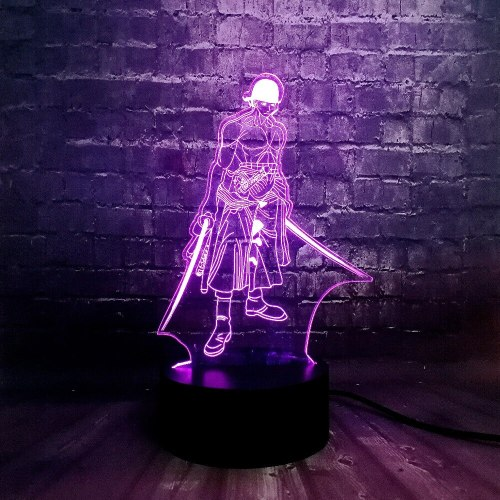 Hot Anime Theme One Piece 3D Cool Roronoa Zoro Night LED Lamp 7 Color USB Charge Home Boy Sleep Table Lava Birthday Kids Gift