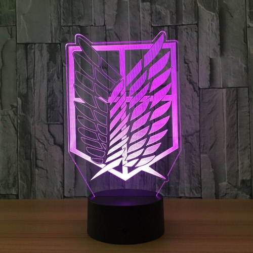 Attack on Titan Badge 3D LED Nightlight Color Changing Home Decor Table Lamp Novelty 3D Visual Night Light for Child Gift