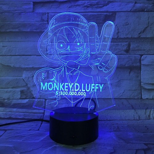 3D LED Luffy Night Light 7 Colors Changing Creative One Piece Desk Lamp Bedroom Atmosphere Anime Decor Light Kids Gifts GX-732