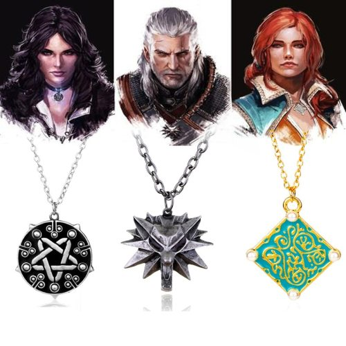 HANCHANG The Witcher 3 Wild Hunt Geralt Wolf Necklace ,Triss Medallion Necklace,Yennefer Choker Necklace ,Games Jewelry