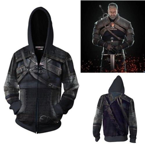 The Witcher 3: Wild Hunt Geralt of Rivia Cosplay Costumes The Witcher Hoodie Jackets Cosplay 3D printing Zip Hoodie Sweatshirts