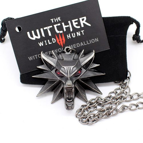 witcher 3 pendant necklace animal wolf head necklace 1 bag 1 card original quality wholesale