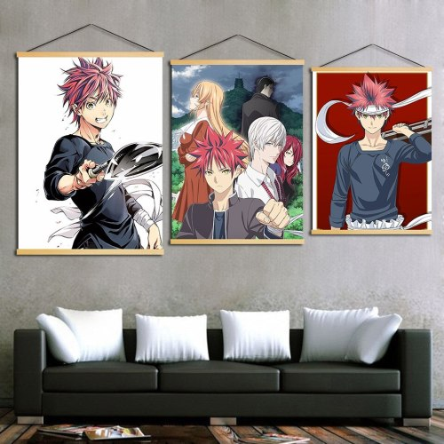 Home Decor Hanging Pictures Printed Shokugeki No Soma Comic Nordic Posters Wall Art Pop Wooden Scroll Canvas Paintings Boys Room
