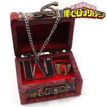 2PCS New Anime My Hero Academia Metal Necklace Ring Pendant Box Cosplay with gift box Cosplay Handmade Unisex Otaku Gifts