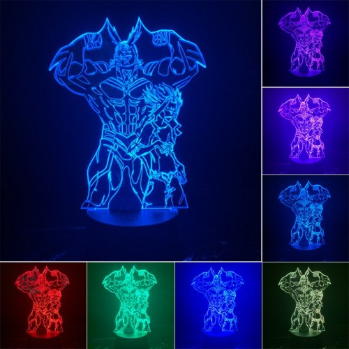 My Hero Academia 3D LED Night Light Deku 7 Color Changing Lamp Room Decoration Action Figure Toy For Christmas Gift