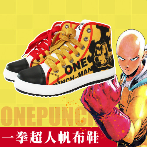 ONE PUNCH-MAN Saitama Cosplay Yellow Shoes Daily High Top Canvas Shoes Halloween Cosplay Costumes Anime Cosplay Shoes