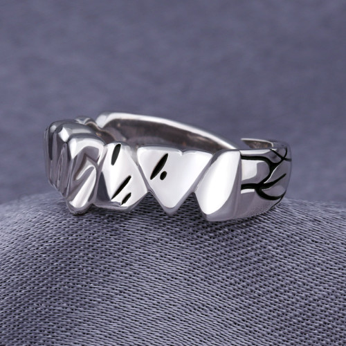 Anime ONE PUNCH-MAN Saitama Ring 925 Sterling Silver Finger Ring Limit Adjustable Jewelry Cosplay Xmas Gift