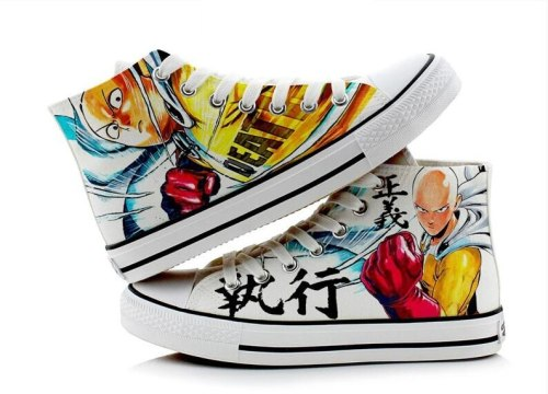 High-Q Unisex Anime Cos ONE PUNCH-MAN Shoes Saitama Casual 3D plimsolls canvas shoes rope soled shoes
