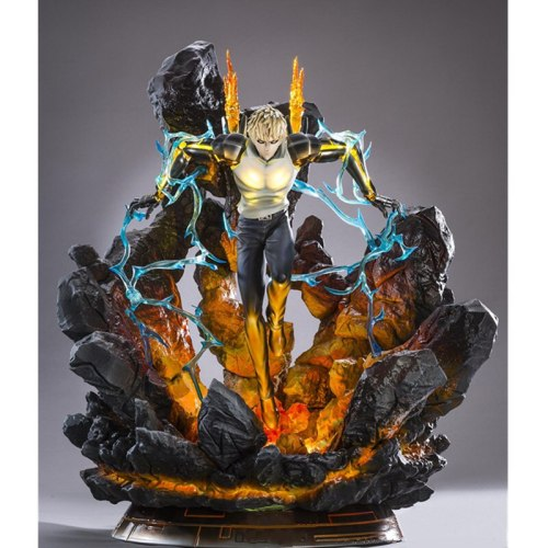 49CM Anime ONE PUNCH MAN Genos Statue Full-Length Portrait Resin Action Figure led light Collectible Model Toy A144
