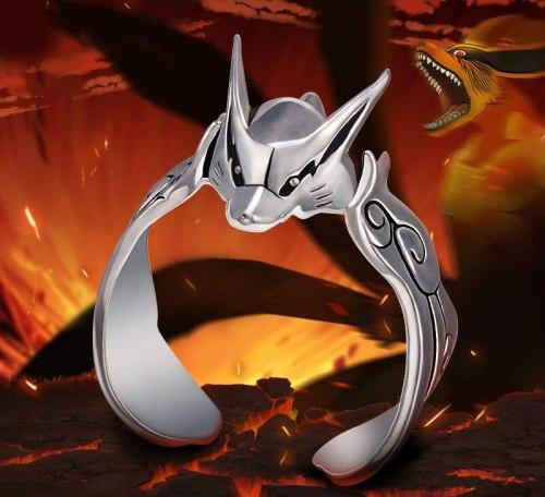 Silver Naruto Uzumaki Kurama Kyuubi Ninja Ring Adjustable Cosplay Anime Hot Birthday Gift Props