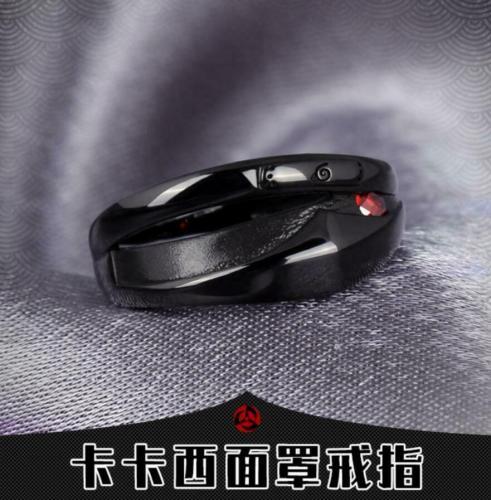 Anime NARUTO Hatake Kakashi Mask Ring S925 Zircon Cos gift Adjustable