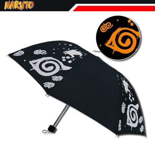 Anime NARUTO Uzumaki Hokage Color Changing Umbrella 96cm Three-Fold Anti-UV Sun Rain Collectible Bumbersoll Cosplay Gift for Boy