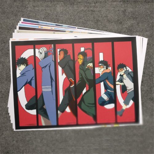 8pcs Uchiha Obito Pattern Wall Posters Anime Cartoon Naruto Hokage Cosplay Prop Home Decor Collection for Boy Men