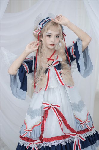 Maiden heart gorgeous navy wind spring and summer new style Chinese breeze navy dress bowknot cross halter Japanese fasten
