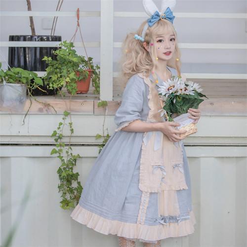 Doll collar design Sweet cream dress lovely bow lolita spring and summer