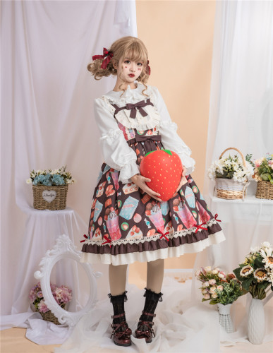 Sweet and lovely style New dessert lolita 2019 printed JSK halter dress