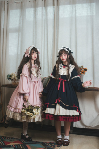 Princess Style 2019 hot style's new solid color a-line dress is A little high-waisted lolita dress