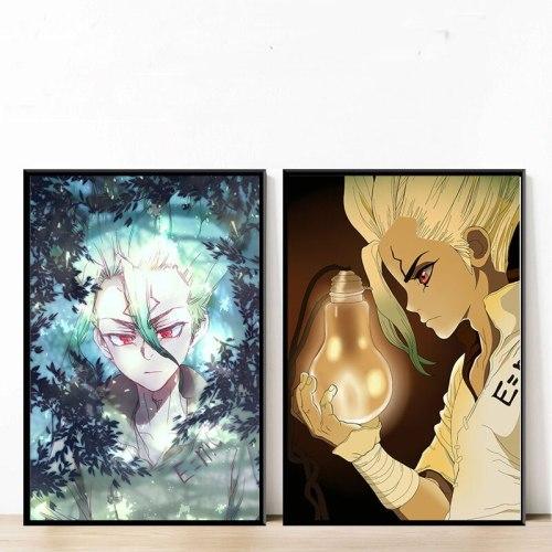 Nordic Canvas Painting Poster Printed Anime Dr.STONE Ishigami Senku Shishio Tsukasa Pictures Home Decoration Living Room Modular