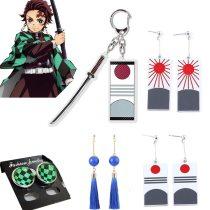 Demon Slayer Earrings Kamado Tanjirou Earring Ear Stud Cosplay Props  Christmas Gifts Kimetsu No Yaiba Keychain Accessory
