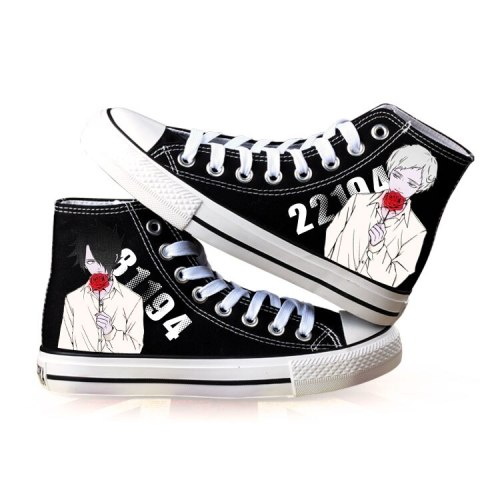 The Promised Yakusoku no Neverland Cosplay Canvas Shoes Printed Norman Emma Sneakers Men Women high top Sneakers