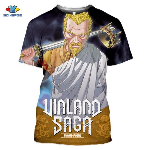 SONSPEE New Vinland Saga Thorfinn Cosplay T-shirt 3d Print Summer Fashion Askeladd Harajuku Anime T-Shirt Short Sleeve Tops Tee