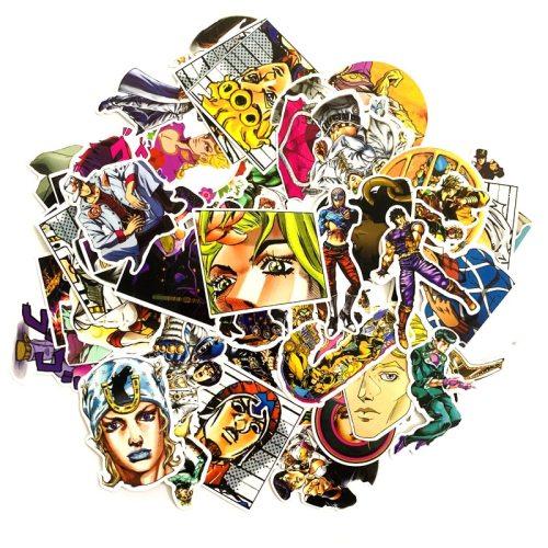 50pcs/set Anime JoJo Bizarre Adventure Stickers Cosplay Accessories Prop PVC Waterproof Cartoon Decal Sticker