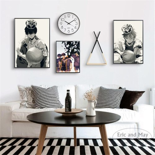 Haikyuu Black And White Anime Canvas Art Print Painting Modern Wall Picture Home Decor Bedroom Decorative Posters No Frame
