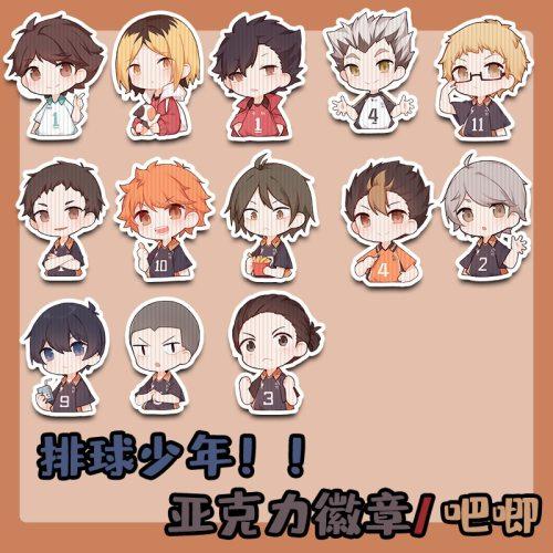 Japan Anime Haikyuu!! tsukishima kei kageyama tobio Hinata Shoyo Cosplay Acrylic Bedge Bags Badge Button Brooch Pin Souvenir