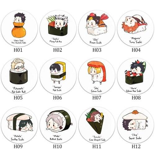 Japanese Manga Haikyuu!! Brooches School Volleyball Syouyou Kageyama Boys Glass Picture Cool Hat Pins Anime Badge