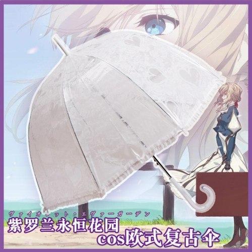 Limited Anime Violet Evergarden Beautiful Lace Umbrella European Lace Retro Transparent Umbrella Cosplay Props