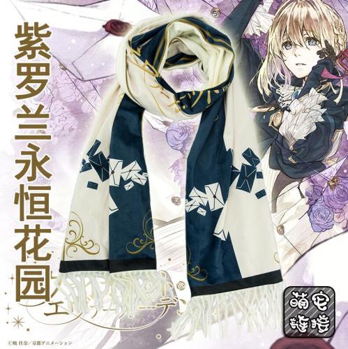 Anime Violet Evergarden WOW Cosplay Unisex Soft Plush Scarf Winter Warm Neckerchief Scarfs Cosplay Prop Xmas Gift