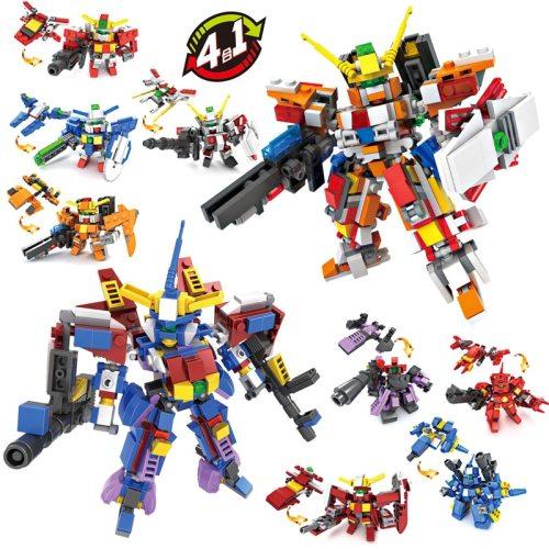 4 in 1 Transform Gundam Warrior Toy Block Action Figure Gundam Model Compatible Lego Jigsaw Robot Toy