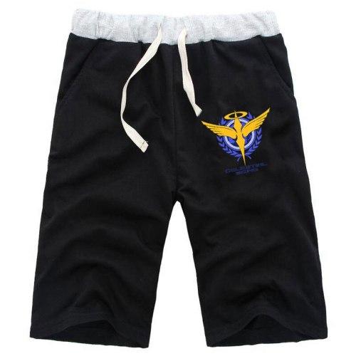 Men Anime GUNDAM Celestial Being Straight Shorts Knee Length Cotton Casual Beach Fitness Short Pants Sweatpants Pockets Trousers