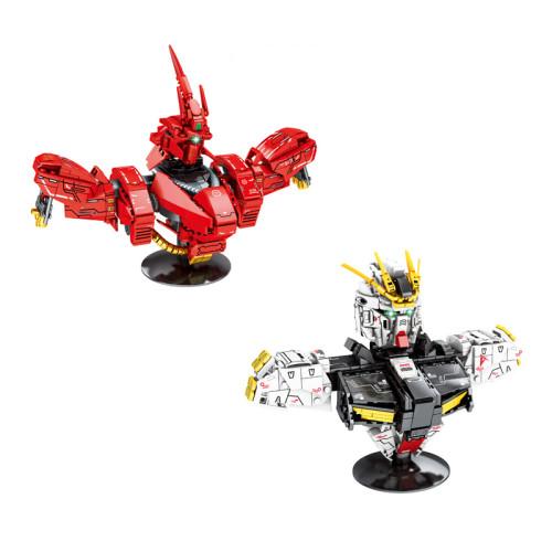 Hot super robot war Bust building block RX-93 ν gundam SAZABI MSN-04 bricks assembly model toys collection for boys gifts