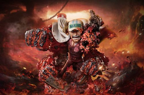 One Piece gk G5 co-branded FIVE Sakazuki , the first bomb of the three navy generals, limited edition figuThe height of the red dog is 9cm, the total height of the scene is 13cm, and the diameter of the base is 10cmre