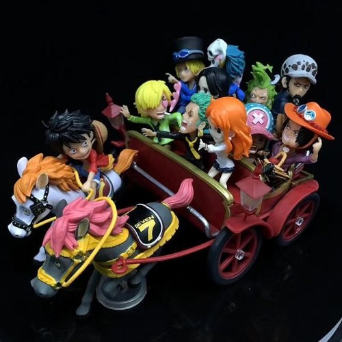 Anime One Piece Luffy Zoro Sanji Ace Sabo Characters Horse Carriage WCF limited 20th anniversary Action Figure Model Toys