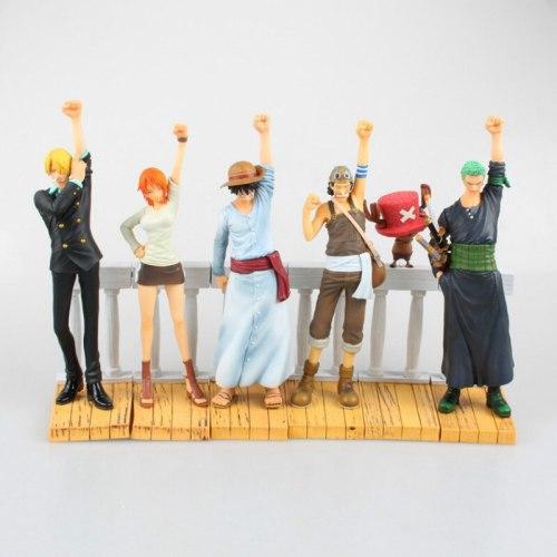 6pcs/set One Piece 6-20CM Luffy Nami Roronoa Zoro Desert Memories Hobbies Anime PVC Action Figures Toys For Children Christmas