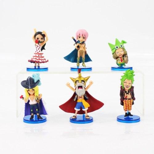 7cm 6pcs/lot One Piece Q Version Mini Dressrosa Luffy Lucy Chopper Rebecca Leo Cavendish PVC Action Figure Model Collection Toy