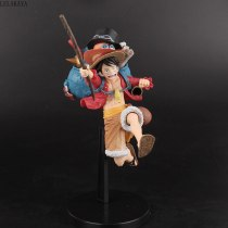 Cartoon Anime One Piece Monkey D Luffy Portgas D Ace Sabo Running Backpack Model PVC Action Figure Collectible Toys Brinquedos
