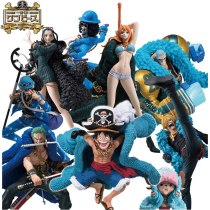 9style Anime One Piece 20th Anniversary Nami Luffy Brook Sanji Robin Chooper Blue Clothes Ver PVC Model Action Figure Doll toy