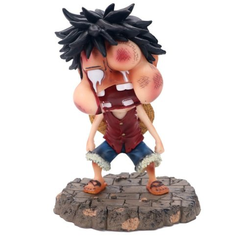 15cm One Piece Luffy Funny Fat Face Swelling Ver. PVC Action Figures OP Luffy Zoro Sanji Collectibles Model Toys
