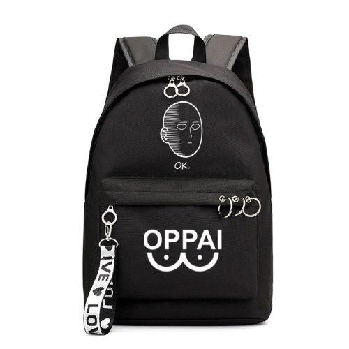Anime ONE PUNCH MAN Backpack School Book Bags Mochila Travel Bag Laptop Ribbon Ring Circle Boy Girls Backpack Pink Black