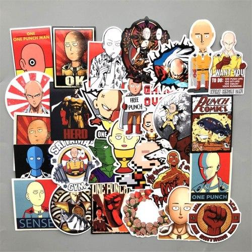 500 pcs/lot Anime ONE PUNCH-MAN stickers ONE PUNCH MAN Saitama Genos Luggage Moto Car Suitcase Laptop Skateboard Waterproof
