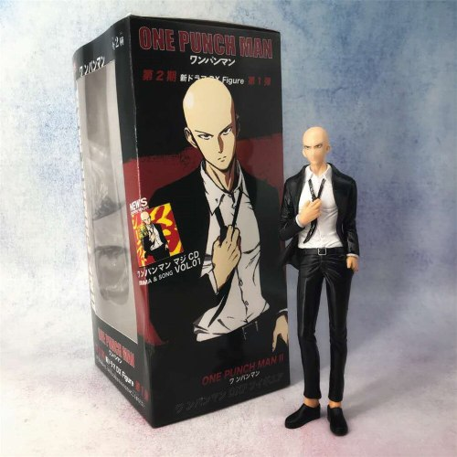 Anime Figures One Punch Man Saitama Black Suit Cloth PVC Toys Model Doll Collectible Action Figma 19cm Genos Saitama Brinquedos