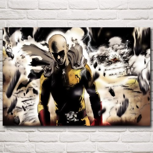 FOOCAME ONE PUNCH MAN Anime Posters and Prints Silk Decorative Pictures Art Wall Home Decor Bedroom Room Decoration Painting