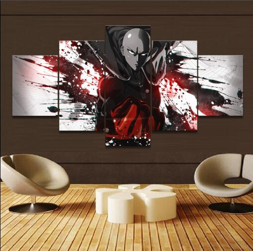 Modern Artwork Home Decor Living Room Wall Art Painting Pictures Canvas Printed 5 Panel Anime One-Punch Man Saitama Poster